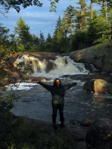 High Falls in the Adirondacks, reached only by arduous backpack thru marshes, woods, and over beaver dams.